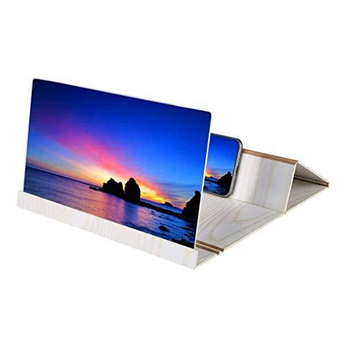Lupa de pantalla para teléfono móvil, plegable, accesorios de soporte para teléfono móvil de alta definición de 12' con amplificador de pantalla para vídeo y transmisión en vivo (blanco)