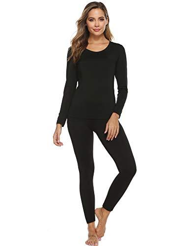 YAWOVE Women's Thermal Heat-Chain Microfiber Fleece Underwear Baselayer Top & Bottom Long Johns Set Black