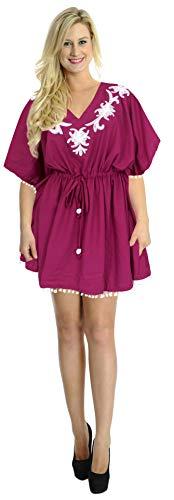 LA LEELA leichte Viskose alle in 1 Tunika-Oberbekleidung Bademode Badeanzug Bikini Sundress Tunika kurz Abendkleid hinreißend Plus Größe Kaftan Bademode Badeanzug Frauen Hawaii vertuschen