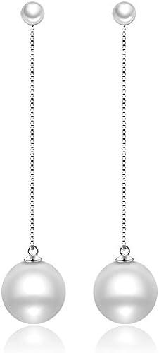 BAGEHAN Perle 99 Sterling Silber Ohrstecker Weißlichen Lange Quaste Ohrringe Weiß Schmuck Ohrringe, A