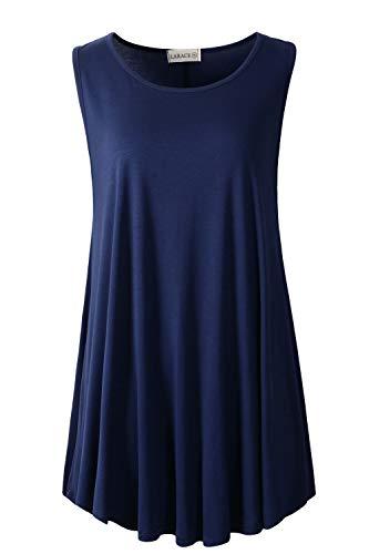 LARACE Women Solid Sleeveless Tunic for Leggings Swing Flare Tank Tops (4X, Navy Blue)