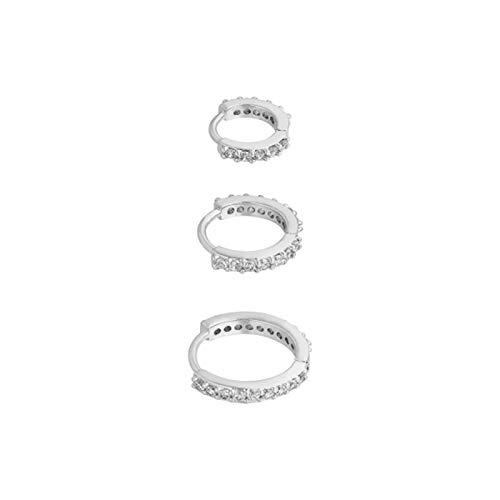 MURUI EH - 3 pendientes de aro de plata de ley 925, redondos, para mujeres, hombres, fiestas, bodas, anillos de lujo y brillantes para joyas Yc616 (color de la gema: 3 piezas de oro)