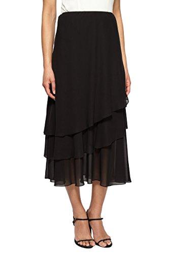 Alex Evenings Women's Tea Length Dress Skirt (Petite Regular Plus Sizes), Black Asym Tier, L