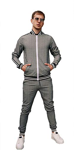 2pcs Men's Casual Tracksuit Long Sleeve Full-Zip Running Jogging Sports Plaid Jacket and Pants B-XL