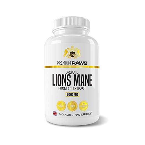 Lions Mane Mushroom Capsules - 2000mg Super High Strength 5:1 Extract (90 Vegan Capsules) Cognitive Focus & Immune Support Product for Men and Women.