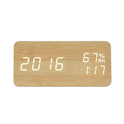 Multifunctionele Alarm Clock, Alarm Clock USB opladen, LCD Digital Display Multifunctionele Horloge Clock, Home Decoration Bureauklok slaapkamer office-lichtgevende-groot di (Colore : Bamboo wood)