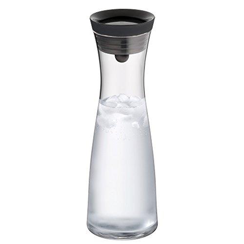WMF - Botella de agua de cristal con tapa negra y colador, 1,0l, sistema Close Up, colección Basic