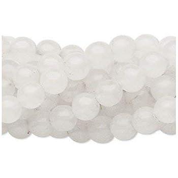 Strand of 48+ White Snow Quartz 8mm Plain Round Beads - - Charming Beads