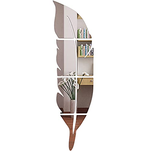Pared Moderna con Espejo de Plumas Adhesivo de Pared de Espejo con Plumas Adhesivo de Pared 3D con Forma de Pluma Espejo de Pared en Acrílico Plateado Autoadhesivo Espejo de Pared de Plumas Plateadas