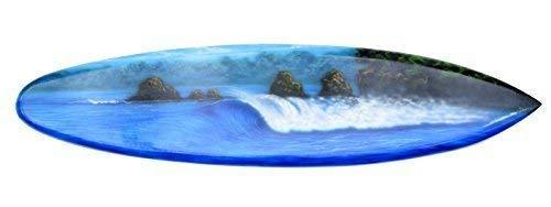 Interlifestyle Surfboard 100cm mit Brandung oder Wellen Motiv Deko Surfbrett aus Hartholz im Paintbrush Stil