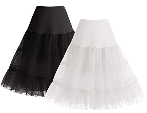 Bbonlinedress Sommerkleid Petticoat schwarz Mini Rock Unterrock Crinoline Underskir Reifrock Black+White M