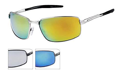 Chic-Net Lunettes de Soleil Lunettes Hommes Gris Miroir teinté Sportif 400 UV Repassage Deux pièces Bleu