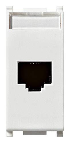Vimar 14339.6 Plana Presa RJ45 Netsafe Cat 6, non schermata, cablaggio universale T568A/B, 8 contatti, UTP 110