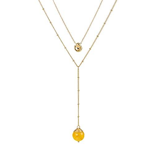 Collar con colgante de cristal vintage con borla en capas de cadena dorada