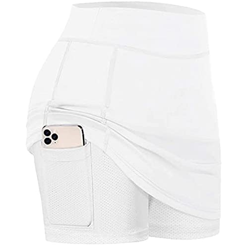 JXZB Mujeres Surment Sports Borth Mini Faldas Rendimiento Falda YO-GA Correr Tenis Golf Entrenamiento Deportes Falda de Tenis 715 (Color : White, Size : 5XL)