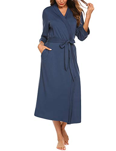 Unibelle Damen Morgenmantel Dünn aus Baumwolle Leicht Damen Kimono Sauna Bademantel Baumwolle Lang Hausmantel Pyjama Nachthemd Mittel Navyblau XL