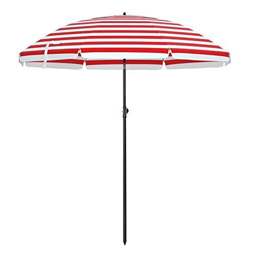 SONGMICS Sonnenschirm, Ø 180 cm, Sonnenschutz, achteckiger Strandschirm aus Polyester, Schirmrippen aus Glasfaser, knickbar, mit Tragetasche, Garten, Balkon, Schwimmbad, rot-weiß gestreift GPU65RW