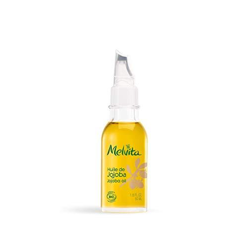 Melvita - Huile de Jojoba Bio - Soin Hydratant et Nourrissant Visage, Corps et Cheveux - Certifié Bio, 100% Naturel, Vegan - Fabriqué en France - Flacon avec Applicateur Précision 50 ml