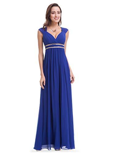 Ever-Pretty Damen Abendkleid A-Linie Festliches Kleid V Ausschnitt Brautjungfer rückenfrei lang Saphirblau 40