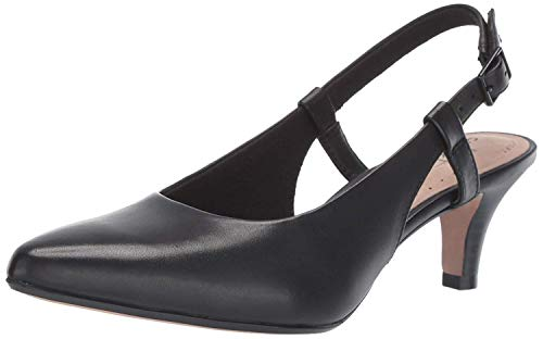 Clarks womens Linvale Loop Pump, Black Leather, 9.5 US