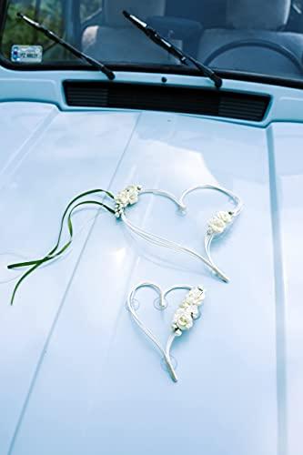 Rattan-Herzen mit getrockneten Blumensträußen in Cremefarbe, auf Saugnäpfen. Set enthält Herzen in den Größen: 19 cm und 30 cm. Perfekte Dekoration für Hochzeiten Hochzeiten Kommunion Taufe