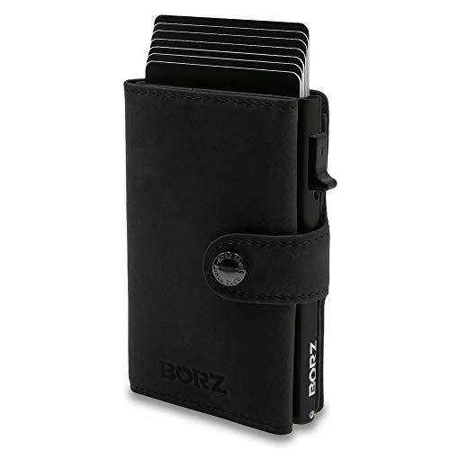 BORZ Prime ® MAXUS Mini Wallet Herren Damen (mit Kartenfach) | Slim Wallet Credit Cardholder | Kreditkartenetui | RFID Schutz | Premium Geldbörse | Kleiner Geldbeutel für Karten & Scheine Echtes Leder