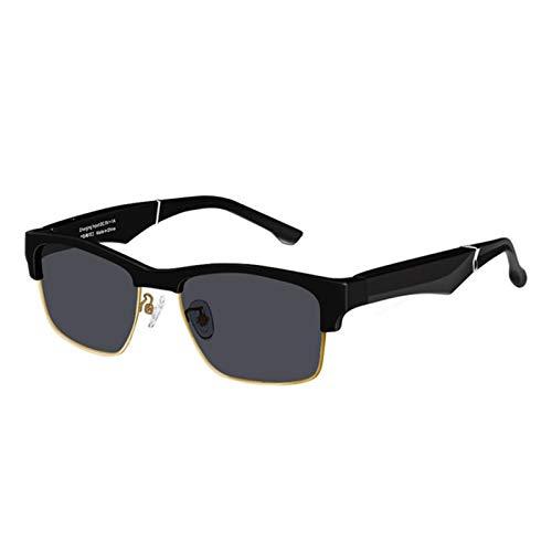 Gafas de Sol Inteligentes Bluetooth, Llamada, Sonido Semi-Abierto, Moda, conducción al Aire Libre, equitación, Gafas de luz Anti-Azul, Luminosas y cómodas Gafas de Sol,Oro