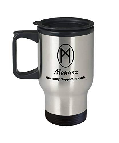 Taza de viaje Mannaz Rune, taza de regalo con diseño de runa nórdica, vikingo, runa, piedras, oracle, tazas, anciano, futhark, runa, taza