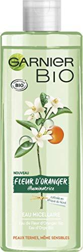 Garnier Bio - Eau Micellaire Illuminatrice - Fleur D'oranger Bio - Peaux Ternes et Sensibles - 400 mL