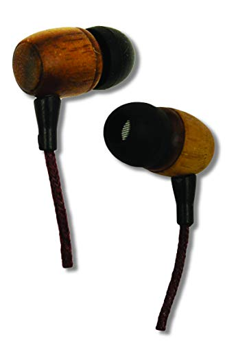 Earth-Budz - Genuine Wood Earbuds, in-Ear Noise-Isolating Headphones, with in-line Microphone. (Earth Diver)