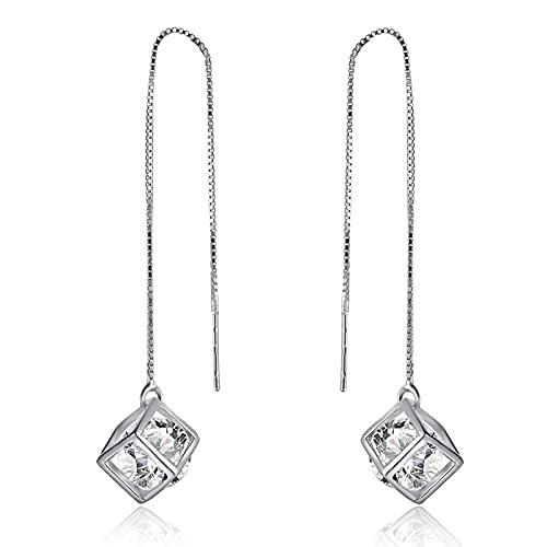 Borla Diamante Rubik'S Cube Pendientes Largos Moda Simple Sweet Ear Line Tremella Jewelry