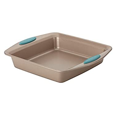 Cucina Nonstick Bakeware Square Cake Pan, 9-Inch, Latte Brown with Agave Blue Handles