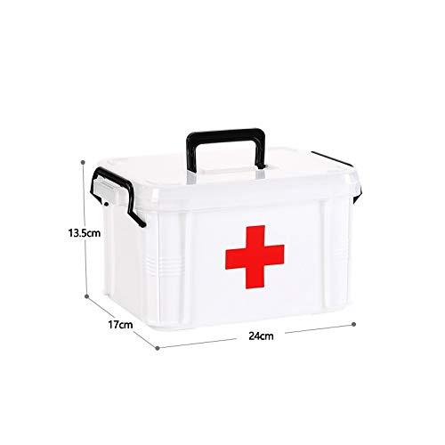 Caja de almacenamiento multifunctonal de 2 capas, kit de primeros auxilios, organizador con mango, kits portátiles, medicamentos de plástico PP para el hogar (color: pequeño)