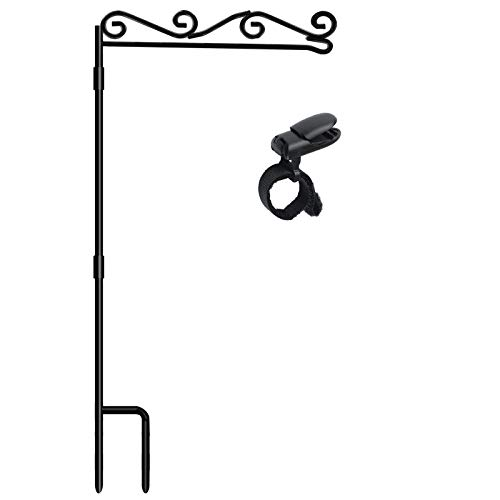 HOOSUN Garden Flag Stand, Premium Garden Flag Pole Holder Black Metal Powder-Coated Weather-Proof Paint, 37.9'H x 15.7'W for Outdoor Garden Lawn Without Flag