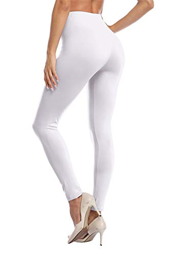 VOGUEMAX Womens Ankle Length Leggings Buttery Soft High Waisted Stretch Basic Solid Full Length Leggings Pants White