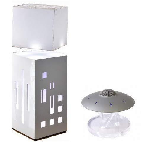UFOSOUND Concept - Lampe Cityline Blanche avec enceinte Silver