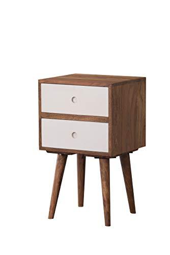AISER Royal Massiver Echt-Holz Palisander Nachttisch -Bellary- 40 x 35 cm aus besonders schön gezeichnetem Sheesham-Holz mit 2 Schubladen in modernem zeitlosen Design