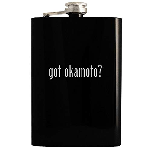 got okamoto? - Black 8oz Hip Drinking Alcohol Flask