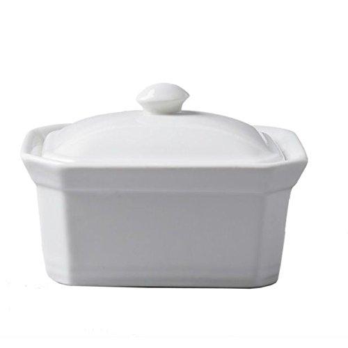 CKS beurre Terrine Plat avec couvercle en céramique blanc (pack de 2)
