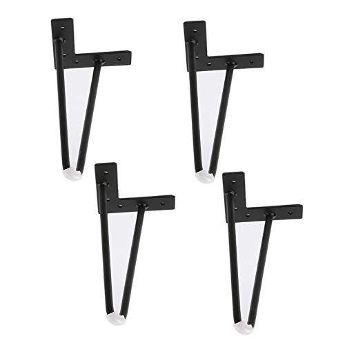 YLL Heavy Duty Furniture Table Legs Metal Home DIY Projects Aluminum Alloy Sofa Legs for Coffee Table, Dining Table, Designer Desk, with Screws Set of 4 Easy To Install,Black,10cm/4in