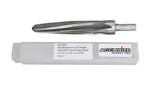 Accusize Industrial Tools Hss Spiral Flute Aligning Reamer, 1'' Cutting Diameter, 1/2'' Shank Diameter, 0522-0001