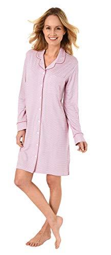 NORMANN-Wäschefabrik Edles Damen Nachthemd Langarm zum Knöpfen in Single Jersey - 281 213 90 350, Farbe:rosa, Größe2:36/38