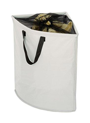 WENKO 3440006100 Eck-Wäschesammler Stone - Wäschekorb, Fassungsvermögen 75 L, Kunststoff - Polyester, 55 x 60 x 40 cm, Beige