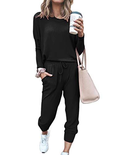 ORANDESIGNE Damen Trainingsanzug 2 Teiler Hausanzug Kuschelig Jogginganzug Sportliche Hose Mit Kordelzug Und Taschen Schwarz 44