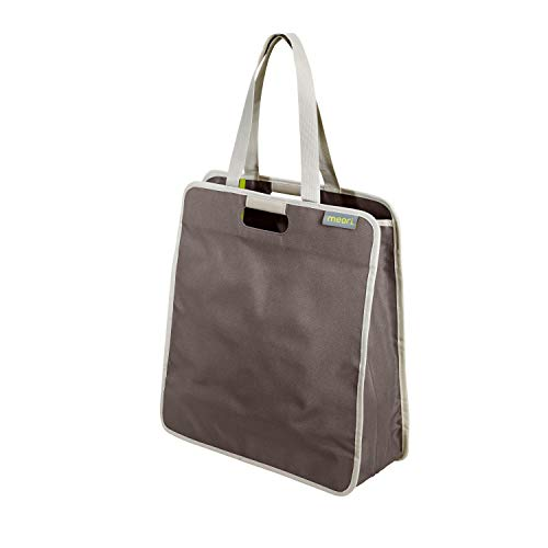 Faltbare Einkaufstasche L Palm Taupe Solid 46x17x50cm Shopping Polyester stabil abwischbar Henkel Reißverschluss Freizeit Urlaub Shoppingtour platzsparend