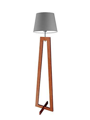 Kos - Lámpara de pie (madera, pantalla de acero, marco de caoba)