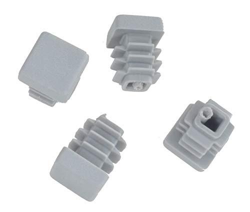 20 pcs - bouchons lamellaires bouchons carrés pour tuyaux 15 x 15 mm (extérieur) bouchons GRIS