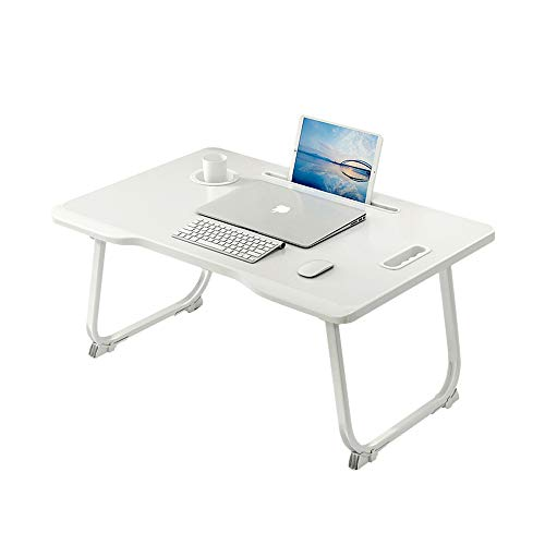 Laptop Bed Tray Table, Collapsible Laptop Bed Stand, Portable Standing Table with Foldable Legs, Tablet Table for Sofa Couch, Breakfast Tray, for Reading, Working, Writing in Bed or on Floor (White)
