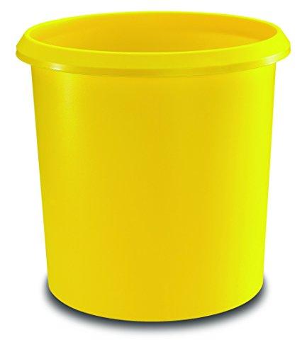 Läufer 26608 Papierkorb Allrounder 18 Liter, gelb, rund, Mülleimer mit Griff, stabiler Kunststoff