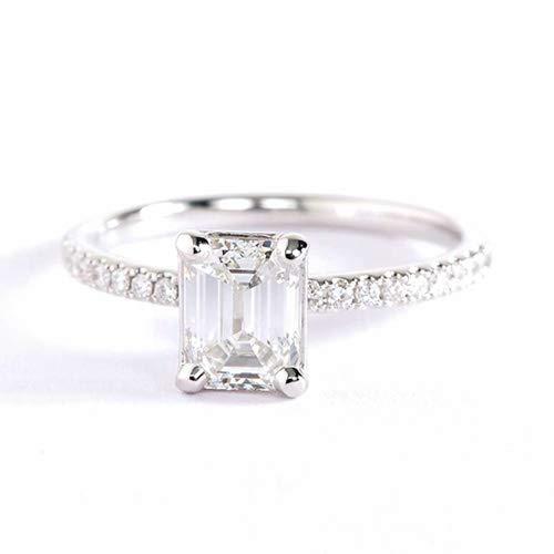 GIA Anillo de compromiso de oro blanco de 18 quilates con diamantes pavimentados franceses VS2 H de 1,15 quilates